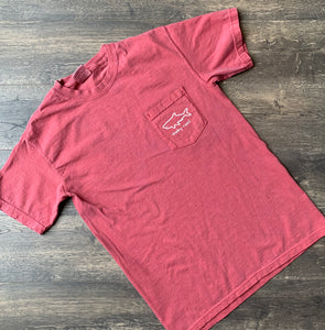 Adult Short Sleeve Pocket T-Shirt - Crimson