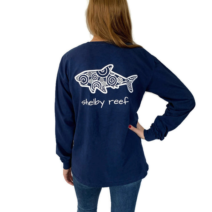 Adult Long Sleeve Pocket T-Shirt - Waves Navy