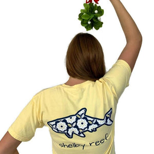 Adult Short Sleeve Pocket T-Shirt - Flower Power Butter