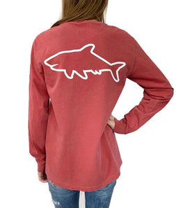 Adult Long Sleeve Pocket T-Shirt - Crimson