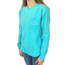 Load image into Gallery viewer, Adult Long Sleeve Pocket T-Shirt - Waves Lagoon Blue