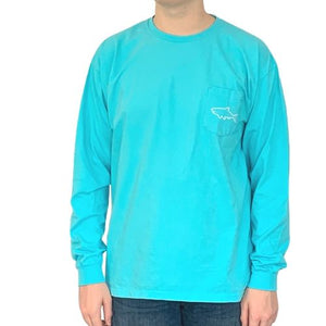 Adult Long Sleeve Pocket T-Shirt - Waves Lagoon Blue