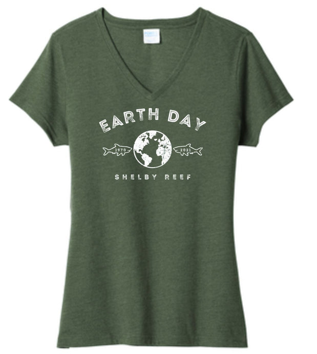 Ladies Short Sleeve V-Neck T-Shirt - Earth Day 2021