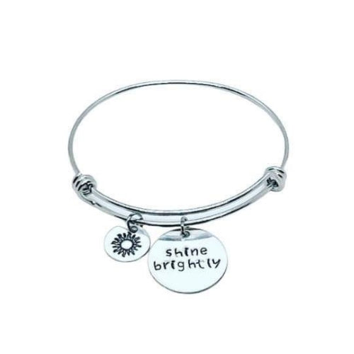 Hand Stamped Stackable Bracelet - Shine Brightly