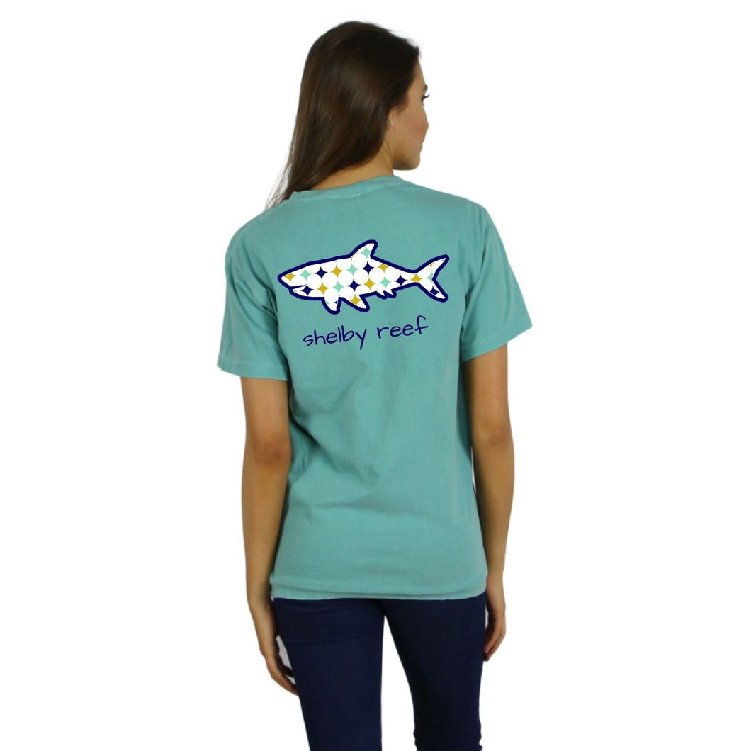 Ladies Short Sleeve V-Neck T-Shirt - Retro Seafoam
