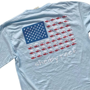 Adult Long Sleeve Flag Pocket T-Shirt - Chambray