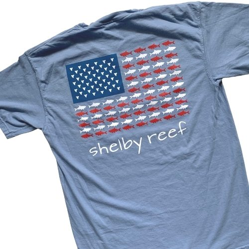 Adult Short Sleeve Flag T-Shirt - Washed Denim