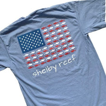 Load image into Gallery viewer, Adult Short Sleeve Flag T-Shirt - Washed Denim