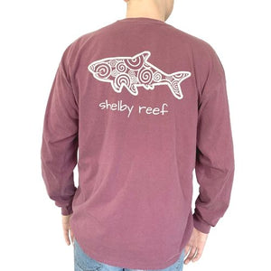 Adult Long Sleeve T-Shirt - Waves Berry