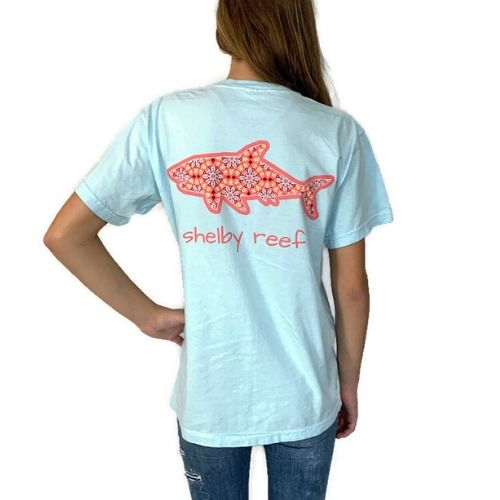 Adult Short Sleeve Pocket T-Shirt - Peachy Keen Chambray