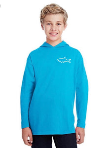 Youth Long Sleeve Hooded T-Shirt - Waves Caribbean Blue