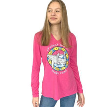 Load image into Gallery viewer, Ladies Long Sleeve Hooded T-Shirt - Great White Fuchsia Frost