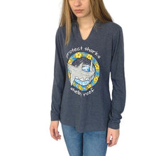 Load image into Gallery viewer, Ladies Sleeve Hooded T-Shirt - Great White Navy Frost