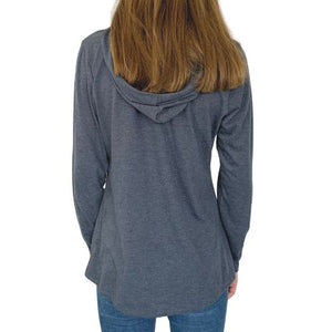 Ladies Sleeve Hooded T-Shirt - Great White Navy Frost