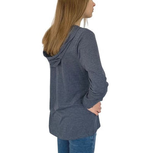 Ladies Long Sleeve Hooded T-Shirt - Great White Navy Frost