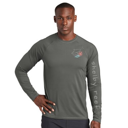 Adult Long Sleeve Rashguard Shirt - Gray