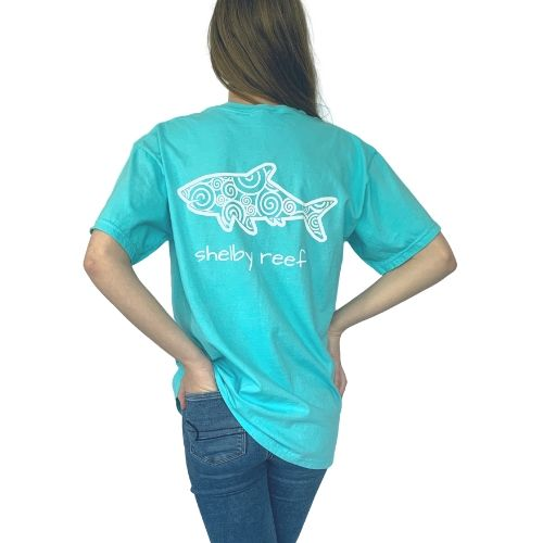 Adult Short Sleeve Pocket T-Shirt - Waves Lagoon Blue