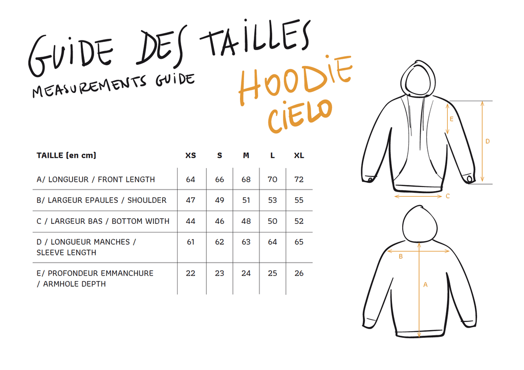 Guide des tailles Hoodie Cielo