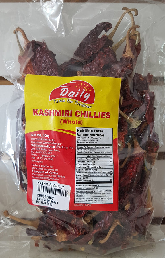 Kashmiri Chillies (Whole) 100g Daily - grocerybasket.ca