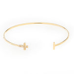 Oval Bangle with Crystal Cross