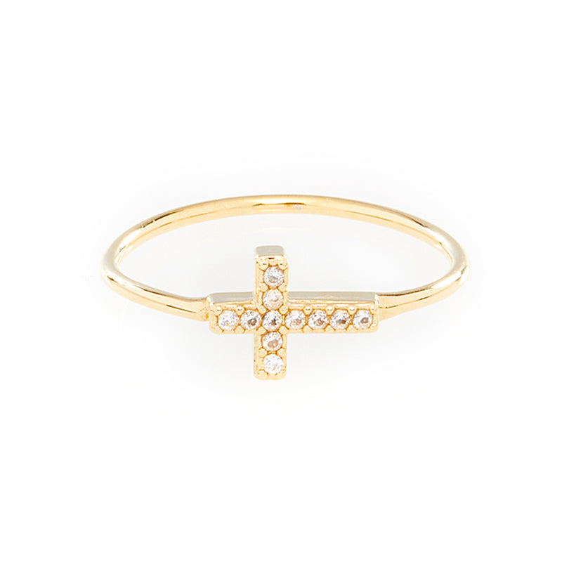 Crystal Cross Ring