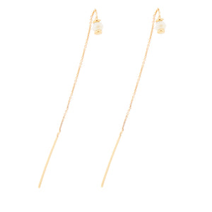 White Glass Bead Threader Earrings