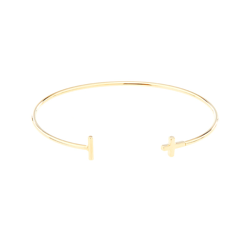 Oval Bangle with Metal Cross