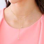 Lariat Necklace with 2 Glass Pearl Bead