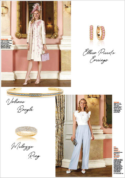 Sif Jakobs Jewelery bangle, ring and earrings in Daily Express - gold with white - blue - pink zirconia