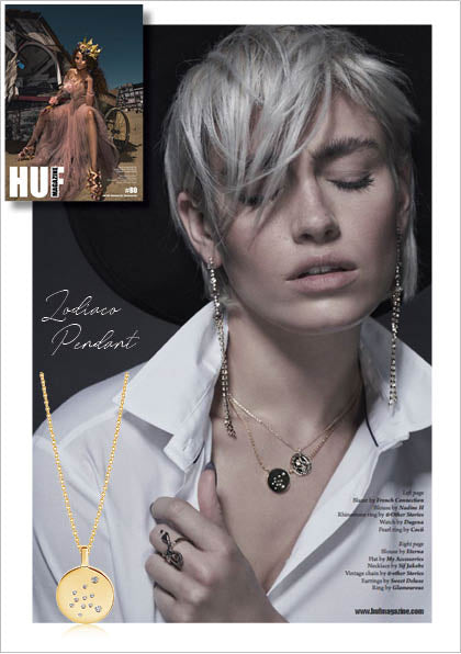 Sif Jakob's Jewelery Zodiaco Pendant in HUF Magazine - Gold with White Zircon