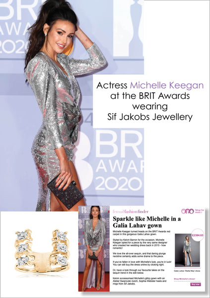 Michelle Keegan at the Brit awards wearing Sif Jakobs Jewellery