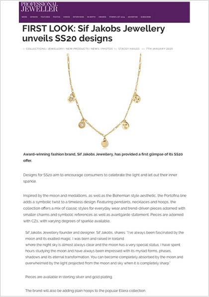 Sif Jakobs Jewellery Portofino necklace in Professional Jeweller - First Look Spring 2020 - gold icons