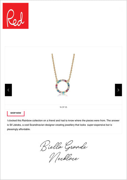 Sif Jakobs Jewelery Biella Grande Necklace in RED ONLINE MAGAZINE - gold with multicolored zirconia