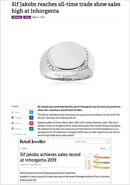 Sif Jakobs Jewelery Follina ring in Retail Jeweler - silver with white zirconia - engraving - engraved