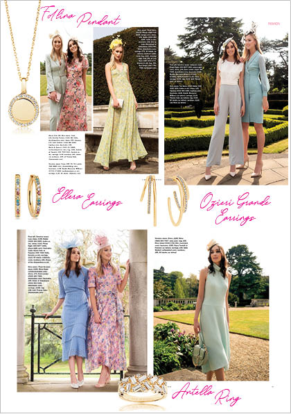 Sif Jakobs Jewelery Ring, pendant and Earrings in Sunday Express - Gold with Multicolored White Zirconia