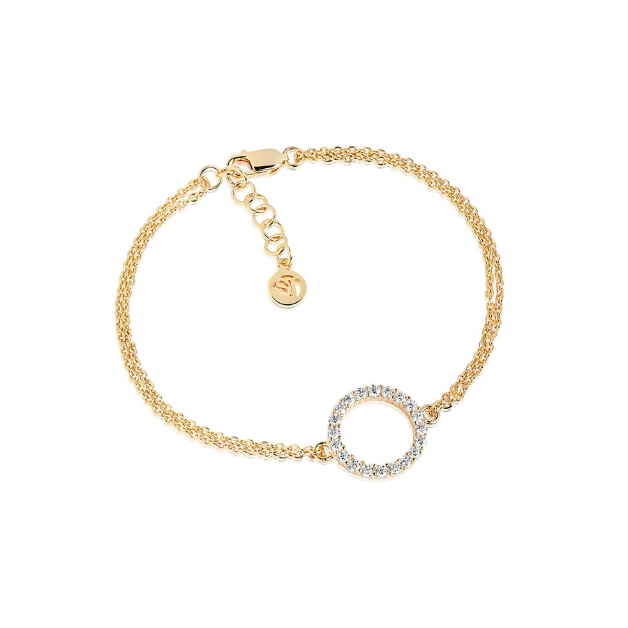Bracelet Biella Grande - 18k gold plated with white zirconia
