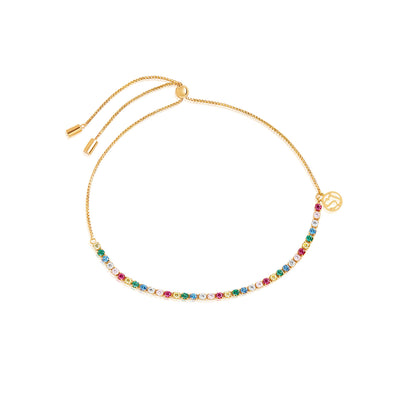 Bracelet Ellera Tennis - 18k gold plated with multicoloured zirconia