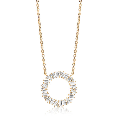 Necklace Antella Circolo Grande - 18k gold plated with white zirconia - Sif Jakobs Jewellery