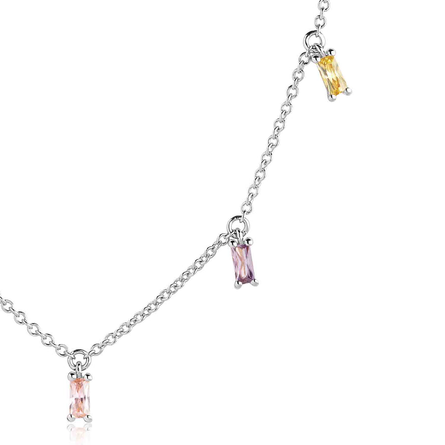 Necklace Princess Baguette with multicoloured zirconia