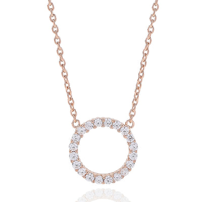 Necklace Biella Grande - 18k rose gold plated with white zirconia
