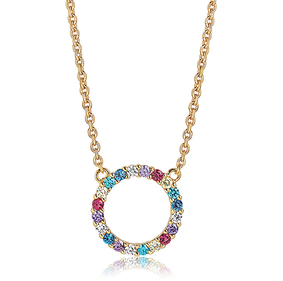 Necklace Biella Grande - 18k gold plated with multicoloured zirconia