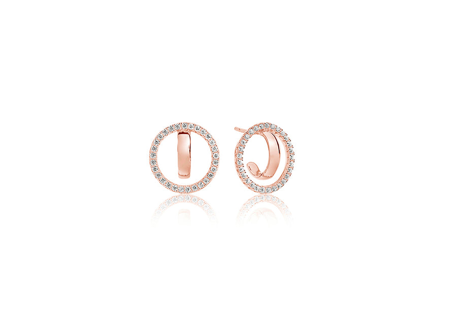 Earrings Ozieri Due - 18k rose gold plated with white zirconia