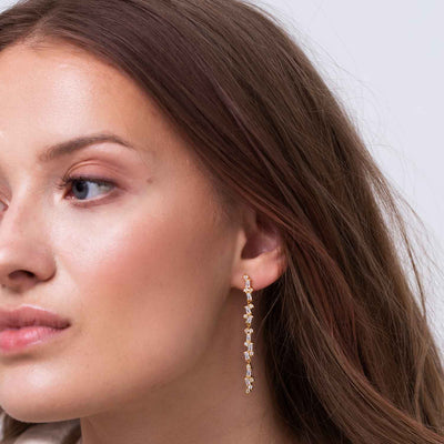 Earrings Antella lungo with white zirconia