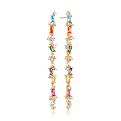 Earring Antella lungo with Multicoloured zirconia - 18k gold plated