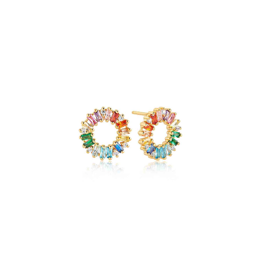 Earrings Antella Circolo - 18k gold plated with multicoloured zirconia