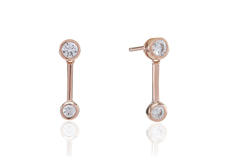 Earrings Sardinien Uno - 18k rose gold plated with white zirconia