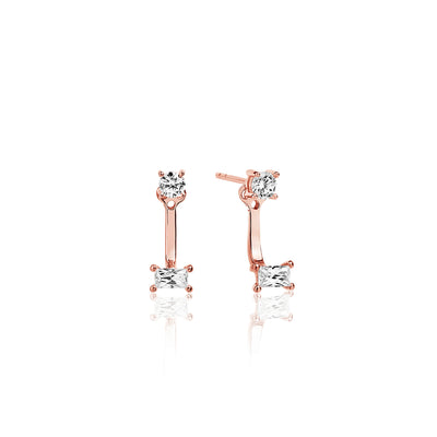 Ear Jackets Antella - 18k rose gold plated with white zirconia