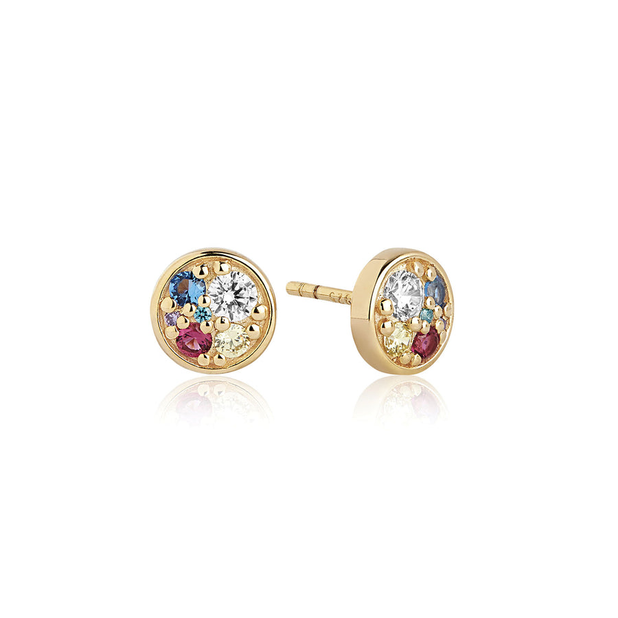 Earrings Novara Piccolo - 18k gold plated with multicoloured zirconia