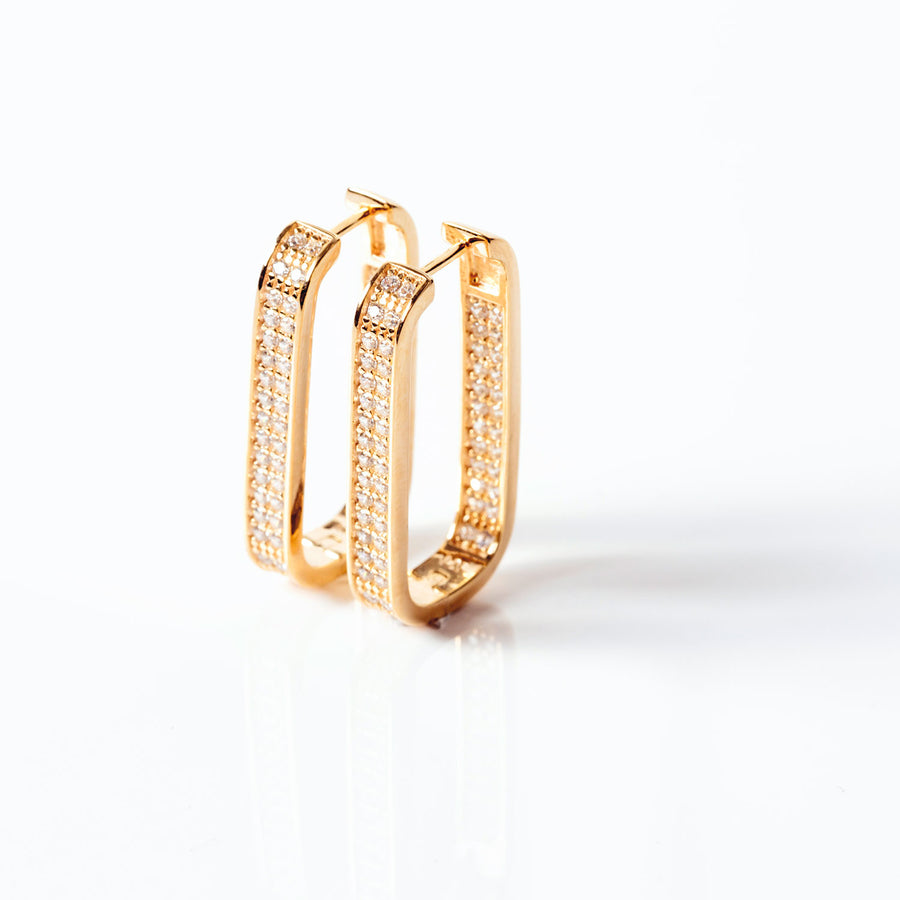 Earrings Matera Grande - 18k gold plated with white zirconia