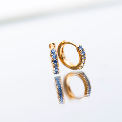 Earrings Ellera Piccolo - 18k gold plated with blue zirconia
